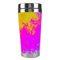 Grunge Radial Gradients Red Yellow Pink Cyan Green Stainless Steel Travel Tumblers by EDDArt