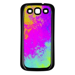 Grunge Radial Gradients Red Yellow Pink Cyan Green Samsung Galaxy S3 Back Case (black) by EDDArt