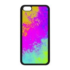 Grunge Radial Gradients Red Yellow Pink Cyan Green Apple Iphone 5c Seamless Case (black) by EDDArt