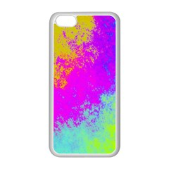 Grunge Radial Gradients Red Yellow Pink Cyan Green Apple Iphone 5c Seamless Case (white) by EDDArt