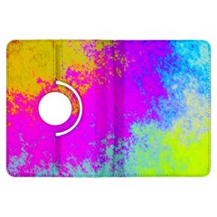 Grunge Radial Gradients Red Yellow Pink Cyan Green Kindle Fire Hdx Flip 360 Case by EDDArt