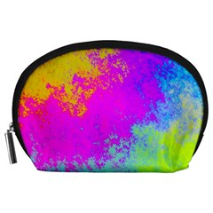 Grunge Radial Gradients Red Yellow Pink Cyan Green Accessory Pouches (large)  by EDDArt