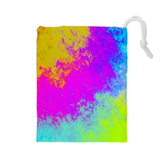 Grunge Radial Gradients Red Yellow Pink Cyan Green Drawstring Pouches (large)  by EDDArt