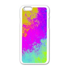 Grunge Radial Gradients Red Yellow Pink Cyan Green Apple Iphone 6/6s White Enamel Case by EDDArt