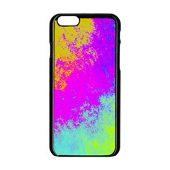 Grunge Radial Gradients Red Yellow Pink Cyan Green Apple Iphone 6/6s Black Enamel Case by EDDArt