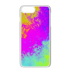 Grunge Radial Gradients Red Yellow Pink Cyan Green Apple Iphone 7 Plus White Seamless Case by EDDArt