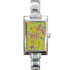 Magic Ripples Flower Power Mandala Neon Colored Rectangle Italian Charm Watch by EDDArt