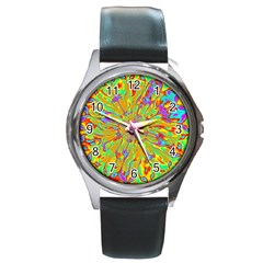 Magic Ripples Flower Power Mandala Neon Colored Round Metal Watch by EDDArt