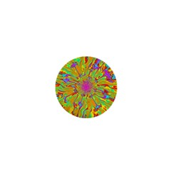 Magic Ripples Flower Power Mandala Neon Colored 1  Mini Buttons by EDDArt