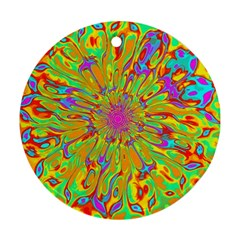 Magic Ripples Flower Power Mandala Neon Colored Ornament (round) by EDDArt