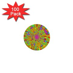 Magic Ripples Flower Power Mandala Neon Colored 1  Mini Buttons (100 Pack)  by EDDArt