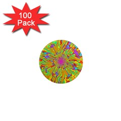 Magic Ripples Flower Power Mandala Neon Colored 1  Mini Magnets (100 Pack)  by EDDArt