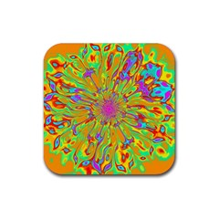 Magic Ripples Flower Power Mandala Neon Colored Rubber Coaster (square)  by EDDArt