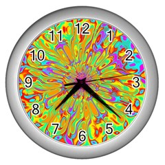 Magic Ripples Flower Power Mandala Neon Colored Wall Clocks (silver)  by EDDArt