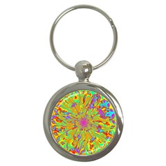 Magic Ripples Flower Power Mandala Neon Colored Key Chains (round)  by EDDArt