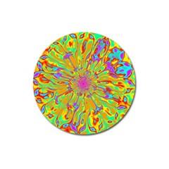 Magic Ripples Flower Power Mandala Neon Colored Magnet 3  (round) by EDDArt