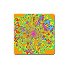Magic Ripples Flower Power Mandala Neon Colored Square Magnet by EDDArt