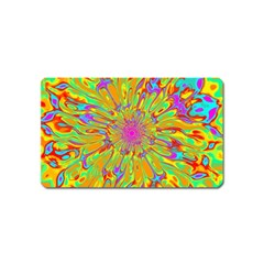 Magic Ripples Flower Power Mandala Neon Colored Magnet (name Card) by EDDArt