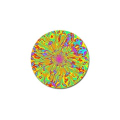 Magic Ripples Flower Power Mandala Neon Colored Golf Ball Marker by EDDArt