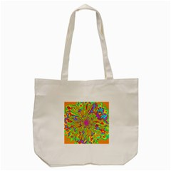 Magic Ripples Flower Power Mandala Neon Colored Tote Bag (cream) by EDDArt