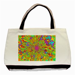 Magic Ripples Flower Power Mandala Neon Colored Basic Tote Bag by EDDArt