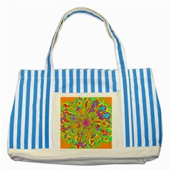 Magic Ripples Flower Power Mandala Neon Colored Striped Blue Tote Bag by EDDArt