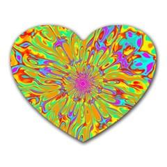 Magic Ripples Flower Power Mandala Neon Colored Heart Mousepads by EDDArt