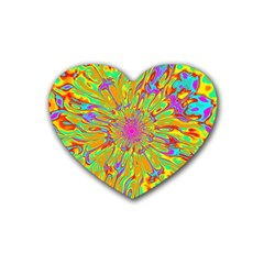 Magic Ripples Flower Power Mandala Neon Colored Rubber Coaster (heart)  by EDDArt