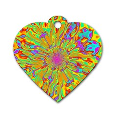 Magic Ripples Flower Power Mandala Neon Colored Dog Tag Heart (two Sides) by EDDArt
