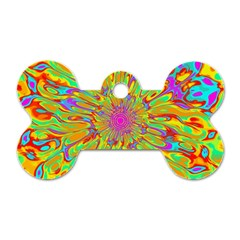 Magic Ripples Flower Power Mandala Neon Colored Dog Tag Bone (two Sides) by EDDArt
