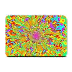 Magic Ripples Flower Power Mandala Neon Colored Small Doormat  by EDDArt