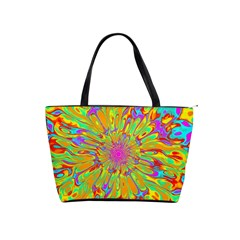 Magic Ripples Flower Power Mandala Neon Colored Shoulder Handbags by EDDArt