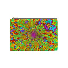 Magic Ripples Flower Power Mandala Neon Colored Cosmetic Bag (medium)  by EDDArt