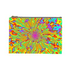 Magic Ripples Flower Power Mandala Neon Colored Cosmetic Bag (large)  by EDDArt