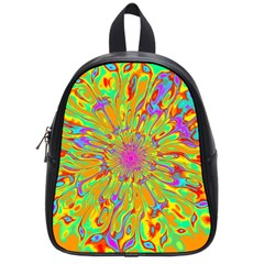 Magic Ripples Flower Power Mandala Neon Colored School Bags (small)  by EDDArt