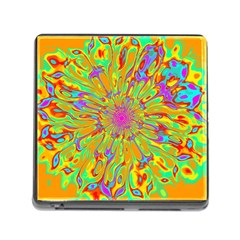 Magic Ripples Flower Power Mandala Neon Colored Memory Card Reader (square) by EDDArt