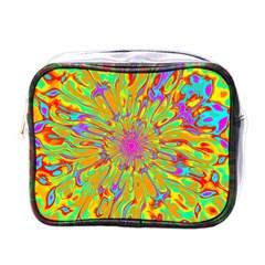 Magic Ripples Flower Power Mandala Neon Colored Mini Toiletries Bags by EDDArt
