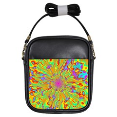Magic Ripples Flower Power Mandala Neon Colored Girls Sling Bags by EDDArt