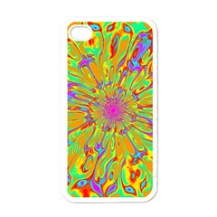 Magic Ripples Flower Power Mandala Neon Colored Apple Iphone 4 Case (white) by EDDArt