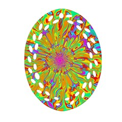 Magic Ripples Flower Power Mandala Neon Colored Oval Filigree Ornament (two Sides) by EDDArt