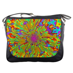 Magic Ripples Flower Power Mandala Neon Colored Messenger Bags by EDDArt