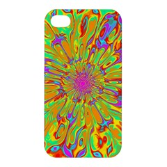 Magic Ripples Flower Power Mandala Neon Colored Apple Iphone 4/4s Premium Hardshell Case by EDDArt