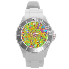 Magic Ripples Flower Power Mandala Neon Colored Round Plastic Sport Watch (l) by EDDArt