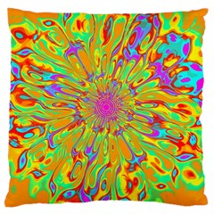 Magic Ripples Flower Power Mandala Neon Colored Large Cushion Case (two Sides) by EDDArt