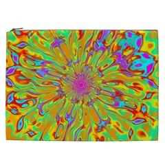 Magic Ripples Flower Power Mandala Neon Colored Cosmetic Bag (xxl)  by EDDArt