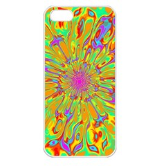 Magic Ripples Flower Power Mandala Neon Colored Apple Iphone 5 Seamless Case (white) by EDDArt