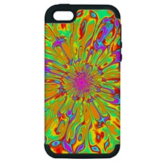Magic Ripples Flower Power Mandala Neon Colored Apple Iphone 5 Hardshell Case (pc+silicone) by EDDArt