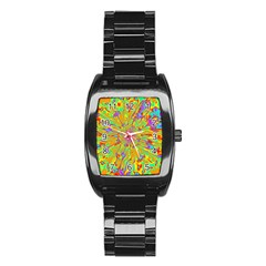Magic Ripples Flower Power Mandala Neon Colored Stainless Steel Barrel Watch by EDDArt