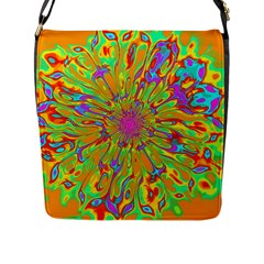 Magic Ripples Flower Power Mandala Neon Colored Flap Messenger Bag (l)  by EDDArt