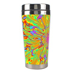 Magic Ripples Flower Power Mandala Neon Colored Stainless Steel Travel Tumblers by EDDArt